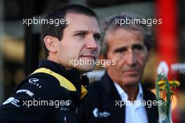 Remi Taffin (FRA) Renault Sport F1 Engine Technical Director and Alain Prost (FRA) Renault F1 Team Special Advisor. 30.08.2019. Formula 1 World Championship, Rd 13, Belgian Grand Prix, Spa Francorchamps, Belgium, Practice Day.