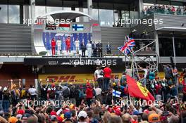 The podium (L to R): Laurent Mekies (FRA) Ferrari Sporting Director; Lewis Hamilton (GBR) Mercedes AMG F1, second; Charles Leclerc (MON) Ferrari, race winner; Valtteri Bottas (FIN) Mercedes AMG F1, third. 01.09.2019. Formula 1 World Championship, Rd 13, Belgian Grand Prix, Spa Francorchamps, Belgium, Race Day.