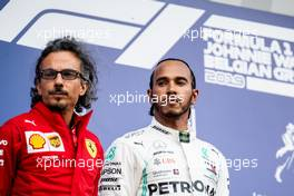 (L to R): Laurent Mekies (FRA) Ferrari Sporting Director and second placed Lewis Hamilton (GBR) Mercedes AMG F1 on the podium. 01.09.2019. Formula 1 World Championship, Rd 13, Belgian Grand Prix, Spa Francorchamps, Belgium, Race Day.