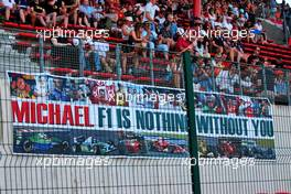 Circuit atmosphere - a banner for Michael Schumacher. 31.08.2019. Formula 1 World Championship, Rd 13, Belgian Grand Prix, Spa Francorchamps, Belgium, Qualifying Day.