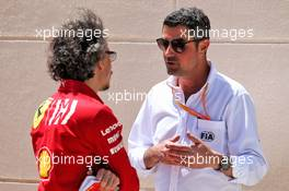 (L to R): Laurent Mekies (FRA) Ferrari Sporting Director with Michael Masi (AUS) Race Director. 29.03.2019. Formula 1 World Championship, Rd 2, Bahrain Grand Prix, Sakhir, Bahrain, Practice Day