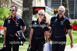 (L to R): Christian Horner (GBR) Red Bull Racing Team Principal with Jayne Poole (GBR) Red Bull Racing HR Director, and Adrian Newey (GBR) Red Bull Racing Chief Technical Officer. 29.03.2019. Formula 1 World Championship, Rd 2, Bahrain Grand Prix, Sakhir, Bahrain, Practice Day