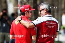 (L to R): Charles Leclerc (MON) Ferrari with Beat Zehnder (SUI) Alfa Romeo Racing Manager. 31.03.2019. Formula 1 World Championship, Rd 2, Bahrain Grand Prix, Sakhir, Bahrain, Race Day.