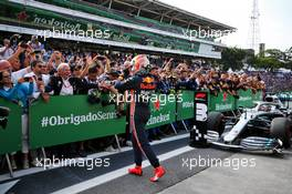 Race winner Max Verstappen (NLD) Red Bull Racing celebrates in parc ferme with Dr Helmut Marko (AUT) Red Bull Motorsport Consultant. 17.11.2019. Formula 1 World Championship, Rd 20, Brazilian Grand Prix, Sao Paulo, Brazil, Race Day.