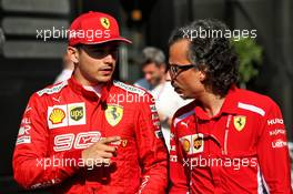 (L to R): Charles Leclerc (MON) Ferrari with Laurent Mekies (FRA) Ferrari Sporting Director. 21.06.2019. Formula 1 World Championship, Rd 8, French Grand Prix, Paul Ricard, France, Practice Day.
