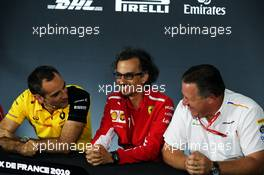 The FIA Press Conference (L to R): Cyril Abiteboul (FRA) Renault Sport F1 Managing Director; Laurent Mekies (FRA) Ferrari Sporting Director; Zak Brown (USA) McLaren Executive Director. 21.06.2019. Formula 1 World Championship, Rd 8, French Grand Prix, Paul Ricard, France, Practice Day.