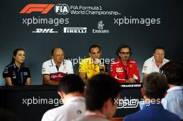 The FIA Press Conference (L to R): Claire Williams (GBR) Williams Racing Deputy Team Principal; Frederic Vasseur (FRA) Alfa Romeo Racing Team Principal; Cyril Abiteboul (FRA) Renault Sport F1 Managing Director; Laurent Mekies (FRA) Ferrari Sporting Director; Zak Brown (USA) McLaren Executive Director. 21.06.2019. Formula 1 World Championship, Rd 8, French Grand Prix, Paul Ricard, France, Practice Day.