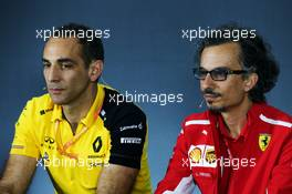 (L to R): Cyril Abiteboul (FRA) Renault Sport F1 Managing Director and Laurent Mekies (FRA) Ferrari Sporting Director in the FIA Press Conference. 21.06.2019. Formula 1 World Championship, Rd 8, French Grand Prix, Paul Ricard, France, Practice Day.
