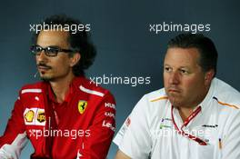 (L to R): Laurent Mekies (FRA) Ferrari Sporting Director and Zak Brown (USA) McLaren Executive Director in the FIA Press Conference. 21.06.2019. Formula 1 World Championship, Rd 8, French Grand Prix, Paul Ricard, France, Practice Day.