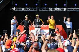 (L to R): Will Buxton (GBR) F1 Digital Presenter; Daniel Ricciardo (AUS) Renault F1 Team; Nico Hulkenberg (GER) Renault F1 Team; Cyril Abiteboul (FRA) Renault Sport F1 Managing Director; and Alain Prost (FRA) Renault F1 Team Special Advisor, on the FanZone stage. 22.06.2019. Formula 1 World Championship, Rd 8, French Grand Prix, Paul Ricard, France, Qualifying Day.