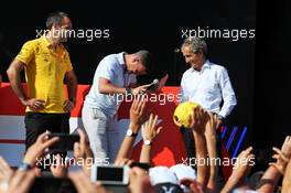 (L to R): Cyril Abiteboul (FRA) Renault Sport F1 Managing Director; Will Buxton (GBR) F1 Digital Presenter; and Alain Prost (FRA) Renault F1 Team Special Advisor, on the FanZone stage. 22.06.2019. Formula 1 World Championship, Rd 8, French Grand Prix, Paul Ricard, France, Qualifying Day.