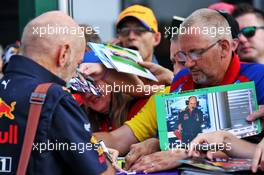 Adrian Newey (GBR) Red Bull Racing Chief Technical Officer signs autographs for the fans. 12.07.2019. Formula 1 World Championship, Rd 10, British Grand Prix, Silverstone, England, Practice Day.