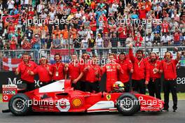 Mick Schumacher (GER) Ferrari Test Driver with the Ferrari F2004 driven by his father Michael Schumacher. 28.07.2019. Formula 1 World Championship, Rd 11, German Grand Prix, Hockenheim, Germany, Race Day.
