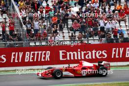 Mick Schumacher (GER) Ferrari Test Driver in the Ferrari F2004 driven by his father Michael Schumacher. 28.07.2019. Formula 1 World Championship, Rd 11, German Grand Prix, Hockenheim, Germany, Race Day.