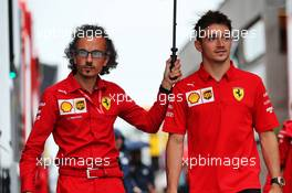 (L to R): Laurent Mekies (FRA) Ferrari Sporting Director with Charles Leclerc (MON) Ferrari. 02.08.2019. Formula 1 World Championship, Rd 12, Hungarian Grand Prix, Budapest, Hungary, Practice Day.