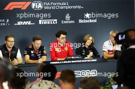 The FIA Press Conference (L to R): Andreas Seidl, McLaren Managing Director; Christian Horner (GBR) Red Bull Racing Team Principal; Mattia Binotto (ITA) Ferrari Team Principal; Claire Williams (GBR) Williams Racing Deputy Team Principal; Beat Zehnder (SUI) Alfa Romeo Racing Manager. 02.08.2019. Formula 1 World Championship, Rd 12, Hungarian Grand Prix, Budapest, Hungary, Practice Day.