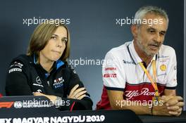 (L to R): Claire Williams (GBR) Williams Racing Deputy Team Principal and Beat Zehnder (SUI) Alfa Romeo Racing Manager in the FIA Press Conference. 02.08.2019. Formula 1 World Championship, Rd 12, Hungarian Grand Prix, Budapest, Hungary, Practice Day.