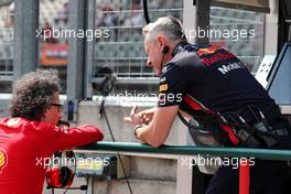 (L to R): Laurent Mekies (FRA) Ferrari Sporting Director with Paul Monaghan (GBR) Red Bull Racing Chief Engineer. 03.08.2019. Formula 1 World Championship, Rd 12, Hungarian Grand Prix, Budapest, Hungary, Qualifying Day.