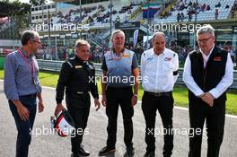 (L to R): Stefano Domenicali (ITA) FIA Single-Seater Commission President; Jean Alesi (FRA); Mario Isola (ITA) Pirelli Racing Manager; Bruno Michel (FRA) F2 CEO; Ross Brawn (GBR) Managing Director, Motor Sports - 2020 Pirelli tyres unveil. 07.09.2019. Formula 1 World Championship, Rd 14, Italian Grand Prix, Monza, Italy, Qualifying Day.