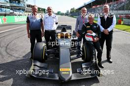 (L to R): Mario Isola (ITA) Pirelli Racing Manager; Bruno Michel (FRA) F2 CEO; Stefano Domenicali (ITA) FIA Single-Seater Commission President; Jean Alesi (FRA); Ross Brawn (GBR) Managing Director, Motor Sports - 2020 Pirelli tyres unveil. 07.09.2019. Formula 1 World Championship, Rd 14, Italian Grand Prix, Monza, Italy, Qualifying Day.