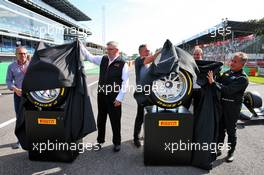 (L to R): Stefano Domenicali (ITA) FIA Single-Seater Commission President; Ross Brawn (GBR) Managing Director, Motor Sports; Mario Isola (ITA) Pirelli Racing Manager; Bruno Michel (FRA) F2 CEO; Jean Alesi (FRA) - 2020 Pirelli tyres unveil. 07.09.2019. Formula 1 World Championship, Rd 14, Italian Grand Prix, Monza, Italy, Qualifying Day.