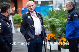 (L to R): Christian Horner (GBR) Red Bull Racing Team Principal with Dr Helmut Marko (AUT) Red Bull Motorsport Consultant and Franz Tost (AUT) Scuderia Toro Rosso Team Principal. 25.10.2019. Formula 1 World Championship, Rd 18, Mexican Grand Prix, Mexico City, Mexico, Practice Day.