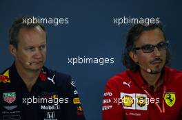 Paul Monaghan (GBR) Red Bull Racing Chief Engineer and Laurent Mekies (FRA) Ferrari Sporting Director, Press conference. 27.09.2019. Formula 1 World Championship, Rd 16, Russian Grand Prix, Sochi Autodrom, Sochi, Russia, Practice Day.