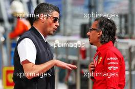 (L to R): Michael Masi (AUS) FIA Race Director with Laurent Mekies (FRA) Ferrari Sporting Director. 27.09.2019. Formula 1 World Championship, Rd 16, Russian Grand Prix, Sochi Autodrom, Sochi, Russia, Practice Day.
