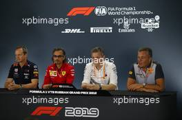 Paul Monaghan (GBR) Red Bull Racing Chief Engineer, Laurent Mekies (FRA) Ferrari Sporting Director, James Allison (GBR) Mercedes AMG F1 Technical Director and Mario Isola (ITA) Pirelli Racing Manager.  ,Press conference. 27.09.2019. Formula 1 World Championship, Rd 16, Russian Grand Prix, Sochi Autodrom, Sochi, Russia, Practice Day.