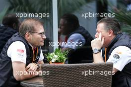 (L to R): Andreas Seidl, McLaren Managing Director with Zak Brown (USA) McLaren Executive Director. 27.09.2019. Formula 1 World Championship, Rd 16, Russian Grand Prix, Sochi Autodrom, Sochi, Russia, Practice Day.