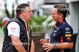 (L to R): Zak Brown (USA) McLaren Executive Director with Christian Horner (GBR) Red Bull Racing Team Principal. 28.09.2019. Formula 1 World Championship, Rd 16, Russian Grand Prix, Sochi Autodrom, Sochi, Russia, Qualifying Day.