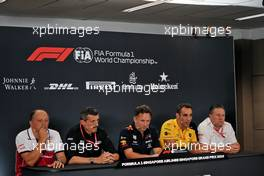 The FIA Press Conference (L to R): Frederic Vasseur (FRA) Alfa Romeo Racing Team Principal; Guenther Steiner (ITA) Haas F1 Team Prinicipal; Christian Horner (GBR) Red Bull Racing Team Principal; Cyril Abiteboul (FRA) Renault Sport F1 Managing Director; Zak Brown (USA) McLaren Executive Director. 20.09.2019. Formula 1 World Championship, Rd 15, Singapore Grand Prix, Marina Bay Street Circuit, Singapore, Practice Day.