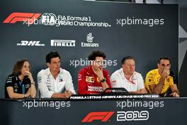The FIA Press Conference (L to R): Claire Williams (GBR) Williams Racing Deputy Team Principal; Toto Wolff (GER) Mercedes AMG F1 Shareholder and Executive Director; Mattia Binotto (ITA) Ferrari Team Principal; Zak Brown (USA) McLaren Executive Director; Cyril Abiteboul (FRA) Renault Sport F1 Managing Director.                                29.11.2019. Formula 1 World Championship, Rd 21, Abu Dhabi Grand Prix, Yas Marina Circuit, Abu Dhabi, Practice Day.