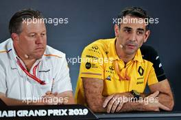(L to R): Zak Brown (USA) McLaren Executive Director and Cyril Abiteboul (FRA) Renault Sport F1 Managing Director in the FIA Press Conference.                                29.11.2019. Formula 1 World Championship, Rd 21, Abu Dhabi Grand Prix, Yas Marina Circuit, Abu Dhabi, Practice Day.