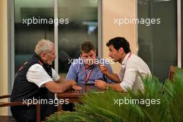 Dr Helmut Marko (AUT) Red Bull Motorsport Consultant with Mark Webber (AUS) Channel 4 Presenter. 01.12.2019. Formula 1 World Championship, Rd 21, Abu Dhabi Grand Prix, Yas Marina Circuit, Abu Dhabi, Race Day.