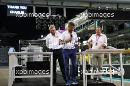 (L to R): Ross Brawn (GBR) Managing Director, Motor Sports; Michael Masi (AUS) FIA Race Director; and Martin Brundle (GBR) Sky Sports Commentator, at the 2019 Charlie Whiting Memorial Bike Ride. 28.11.2019. Formula 1 World Championship, Rd 21, Abu Dhabi Grand Prix, Yas Marina Circuit, Abu Dhabi, Preparation Day.