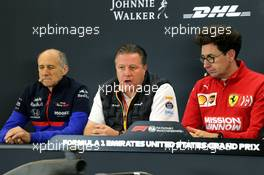 The FIA Press Conference (L to R): Franz Tost (AUT) Scuderia Toro Rosso Team Principal; Zak Brown (USA) McLaren Executive Director; Mattia Binotto (ITA) Ferrari Team Principal. 01.11.2019. Formula 1 World Championship, Rd 19, United States Grand Prix, Austin, Texas, USA, Practice Day.