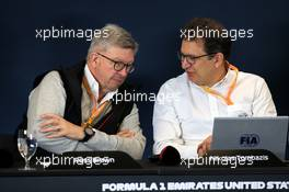 (L to R): Ross Brawn (GBR) Managing Director, Motor Sports and Nicholas Tombazis (GRE) FIA Head of Single-Seater Technical Matters at a 2021 Regulations Press Conference. 31.10.2019. Formula 1 World Championship, Rd 19, United States Grand Prix, Austin, Texas, USA, Preparation Day.