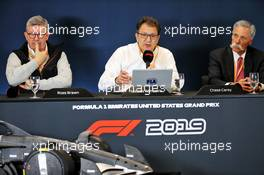 (L to R): Ross Brawn (GBR) Managing Director, Motor Sports; Nicholas Tombazis (GRE) FIA Head of Single-Seater Technical Matters; and Chase Carey (USA) Formula One Group Chairman at a 2021 Regulations Press Conference. 31.10.2019. Formula 1 World Championship, Rd 19, United States Grand Prix, Austin, Texas, USA, Preparation Day.