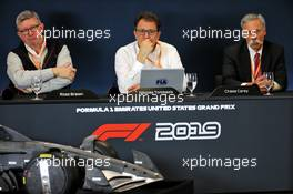 (L to R): Ross Brawn (GBR) Managing Director, Motor Sports; Nicholas Tombazis (GRE) FIA Head of Single-Seater Technical Matters; and Chase Carey (USA) Formula One Group Chairman, at a 2021 Regulations Press Conference. 31.10.2019. Formula 1 World Championship, Rd 19, United States Grand Prix, Austin, Texas, USA, Preparation Day.