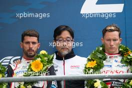 The podium (L to R): Jose Maria Lopez (ARG) Toyota Gazoo Racing; Hisatake Murata (JPN) Toyota Gazoo Racing Team President; Mike Conway (GBR) Toyota Gazoo Racing, second.