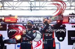 Ott Tanak (EST) / Martin Jarveoja (EST) Hyundai i20 Coupe WRC Hyundai Shell Mobis WRT, winners, celebrate on the podium. 04-06.09.2020. FIA World Rally Championship Rd 4, Rally Estonia, Tartu, Estonia.