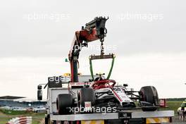 The Alfa Romeo Racing C39 of Antonio Giovinazzi (ITA) Alfa Romeo Racing is recovered back to the pits on the back of a truck in the second practice session.                                07.08.2020. Formula 1 World Championship, Rd 5, 70th Anniversary Grand Prix, Silverstone, England, Practice Day.