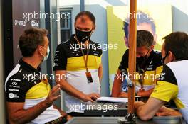 (L to R): Cyril Abiteboul (FRA) Renault Sport F1 Managing Director; Alan Permane (GBR) Renault F1 Team Trackside Operations Director; and Marcin Budkowski (POL) Renault F1 Team Executive Director. 07.08.2020. Formula 1 World Championship, Rd 5, 70th Anniversary Grand Prix, Silverstone, England, Practice Day.