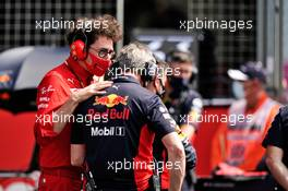 Mattia Binotto (ITA) Ferrari Team Principal with Jonathan Wheatley (GBR) Red Bull Racing Team Manager on the grid. 09.08.2020. Formula 1 World Championship, Rd 5, 70th Anniversary Grand Prix, Silverstone, England, Race Day.