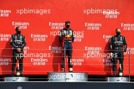 The podium (L to R): Lewis Hamilton (GBR) Mercedes AMG F1, second; Max Verstappen (NLD) Red Bull Racing, race winner; Valtteri Bottas (FIN) Mercedes AMG F1, third. 09.08.2020. Formula 1 World Championship, Rd 5, 70th Anniversary Grand Prix, Silverstone, England, Race Day.