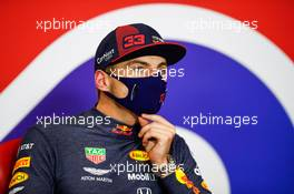 Max Verstappen (NLD) Red Bull Racing in the post race FIA Press Conference. 09.08.2020. Formula 1 World Championship, Rd 5, 70th Anniversary Grand Prix, Silverstone, England, Race Day.