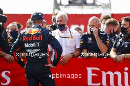 Race winner Max Verstappen (NLD) Red Bull Racing with Dr Helmut Marko (AUT) Red Bull Motorsport Consultant and Adrian Newey (GBR) Red Bull Racing Chief Technical Officer in parc ferme. 09.08.2020. Formula 1 World Championship, Rd 5, 70th Anniversary Grand Prix, Silverstone, England, Race Day.