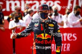 Race winner Max Verstappen (NLD) Red Bull Racing celebrates in parc ferme. 09.08.2020. Formula 1 World Championship, Rd 5, 70th Anniversary Grand Prix, Silverstone, England, Race Day.