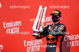 Race winner Max Verstappen (NLD) Red Bull Racing celebrates on the podium.                                09.08.2020. Formula 1 World Championship, Rd 5, 70th Anniversary Grand Prix, Silverstone, England, Race Day.